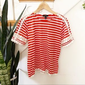 J.Crew red white striped blouse crotchet detailing